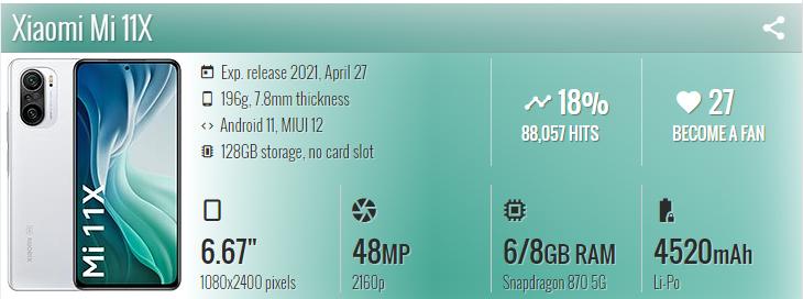 گوشی موبایل شیائومی Xiaomi Mi 11X