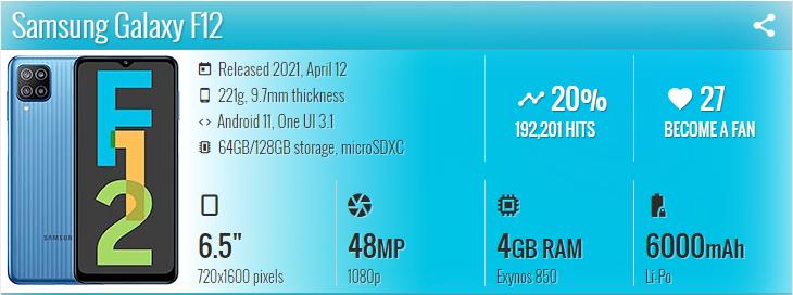 گوشی موبایل سامسونگ Samsung Galaxy F12